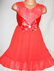 GIRLS DARK ORANGE DIAMONTE SATIN BOWTRIM LACE CHIFFON PARTY DRESS