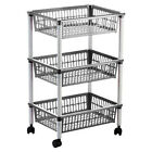 MITO THREE TIER TROLLEY - REMOVABLE BASKETS - STACKABLE KITCHEN HOME STORAGE