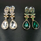 vintage sty jewellery gold gp glass crystal rhinestone green teardrop earrings
