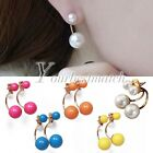 1 Pair Fashion Alloy Ear Stud Jewelry Pearl Beads Charm Earrings Findings Hot