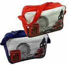 GB Messenger Flight Shoulder Bag Faux Leather LONDON Eye Big Ben Red Blue White