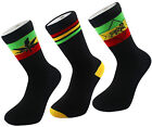 X 3 Rasta Ganja -Weed Leaf - Stripe - Jah Lion Of Judah Crew Socks One Size 6-11