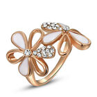 18K Rose Gold Plated White Flower Petals Clear Crystal Women Cocktail Ring