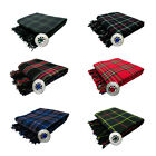 New Scottish Piper's Kilt Fly Plaid With Stone Brooch -  5 Tartans