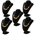 3 x 25cm Black Velvet Necklace Jewellery Bust Display Shop Retail Stand Tall