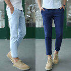 Men's Summer Solid Color Dress Pants Korean Casual Slim Cropped Trousers Slacks