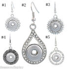 1Pair Earrings Fit Snap Mini Button Rudder Rhinestone Post Stud DIY
