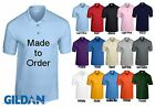NEW GILDAN PERSONALISED CUSTOM PRINTED WORK UNIFORM COMPANY LOGO POLO SHIRTS
