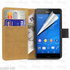 Real Genuine Leather Wallet Flip Stand Case Pouch Cover For New Sony Xperia Z3