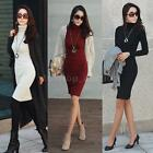 New Women's Long Sleeve Turtleneck Casual Lady OL Bodycon Mini Sweater Dress
