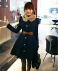 Fashion Lady Slim Cashmere Trench Warm Coat Double Breasted Jacket Winter Coat