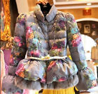 Chic Women's Slim Floral Printed Puff Sleeve Short Jackets Rabbit Fur Furry Coat