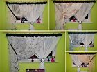 Amazing Ready Made Net Curtains Floral Pattern Black Brown White Ivory New s 12