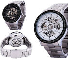 Fashion Stainless Steel Silver Skeleton Business Mechanical Wrist Watch for Men