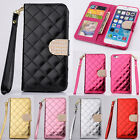 Quilted Bling Leather Flip Wallet Case Cover For Apple iPhone 4S 5S 5C 6 Plus