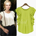 Summer Women Organ Fold Short Sleeve Chiffon T shirt Blouse Tops Tee White Green