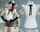 Japan fashion punk Rock gothic Lolita Lace Collar top Blouse Shirt White