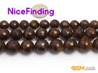 "Natural Stone Fashion Jewelry Making Beads Bronzite Round Faceted 15""810,12,14mm"