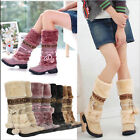 Women Winter Warm Flat Shoes Furry Balls Knee High Calf Snow Boots Newesrt