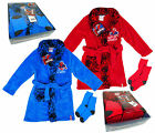 Boy's Marvel Spiderman Fleece Dressing Gown & Socks Gift Box Set 3 4 6 8 Yrs NEW