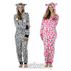 Womens/Ladies Heart Print Fleece Hooded Onesie All In One Size 8, 10,12,14,16,18