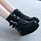 Women's Punk Rivet Spiked Buckle Strap High Platform Creeper Wedge Heels Boots