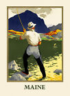 Fishing Maine Sport River Travel Tourism Vintage Poster Repro FREE S H in USA