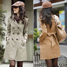 Womens OL Long Sleeve Slim Trench Double Breasted Belted Coat Jacket Outwear HOT