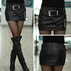 Hot Womens Wet Look Black Faux Leather Shiny Mini Short Skirt Shorts & Belt Good