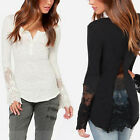 Sexy Ladies Long Sleeve Embroidery Lace Button V Neck Slim T Shirt Tops Blouse