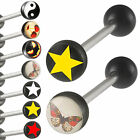 2Pcs steel tongue bar nipple barbell stud body piercing 9GAN-PICK STYLES&COLOUR