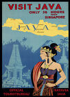 SEE Batavia Java from Singapore Map Travel Tourism Vintage Poster Repro FREE S/H