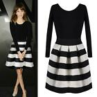 New Women Striped Long Sleeve Crew Neck Sexy Pleated Mini Dress Autumn Winter