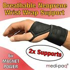 2x Magnetic Therapy Wrist Support Brace - Neoprene Protection Sprain Strap Pain