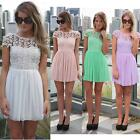 New Women Chiffon Lace Splicing V Back Open Short Sleeve Crochet Mini Dress S-XL
