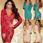 Sexy Women's Deep V Open Back Lace Long Sleeve Bodycon Cocktail Party Mini Dress