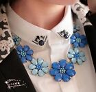 New Charm Jewelry Flower Chain Crystal Choker Chunky Statement bib Necklace
