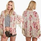 Multicolor Flower 3/4 Sleeve Fringe Open Front Women's Chiffon Blouse Shirt Tops