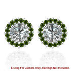 Halo Jackets for 2 Ct Total Weight 6MM Green Diamond Earrings 14K White Gold