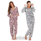 Ladies Zebra/Animal Print Hooded Fleece Onesie All In One Womens Size 8 - 22