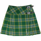"Tartanista Irish Tartan 16.5"" Green Mini Kilt Skirt - Leather Straps Free Pin"