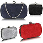 Ladies Women's Night Out Evening Classic Silver Ladies Lace Evening Clutch Bags