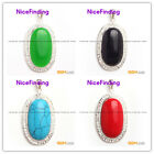 beautiful oval beads silver pendant 20x37mm FREE gift box +chain hot selling