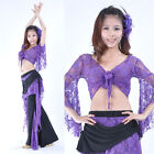 Perfect Belly Dance Costume Perform Exercise 2 Pieces Set Lace Top&Pants  Fancy