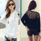 Black White Women Lady Batwing Tops Loose T-Shirt Dolman Lace Long Sleeve Blouse