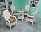 Brand New Real Indoor Whitewash Wicker Cancun Dining Set of Five