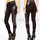 New Ladies Womens Leather Look Leggings Jeggings High Waist Stretch Panel Black