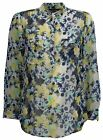 Ex Store Ladies Semi-Sheer Chiffon Floral Blouse Yellow