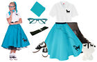 Hip Hop 50s Shop Womens 8 pc Teal Poodle Skirt Outfit Halloween Dance Costume