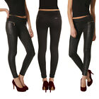 Black PU leather Women's Sexy Leggings Jeggings Denim Look Skinny/Stretchy Pants